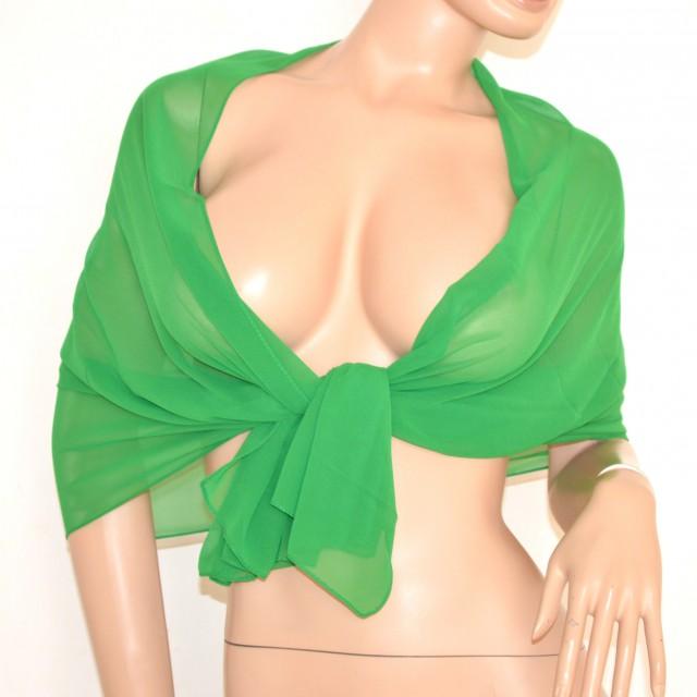 nuovo stile vendita scontata seleziona per il meglio Foulard donna coprispalle stola cerimonia verde velata x abito elegante da  sera tinta unita 105N
