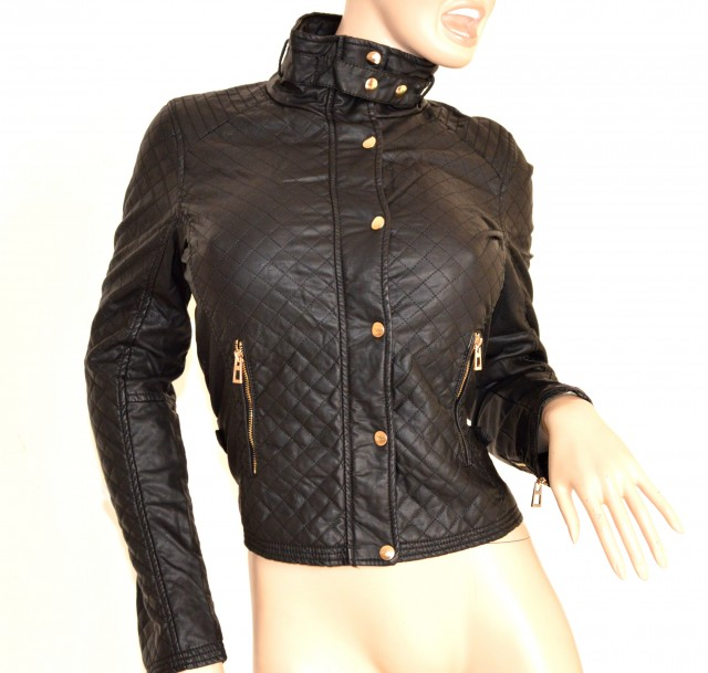 Servizio Spedizione Pelle : Giubbino nero giacca donna pelle giacchino sexy giubbotto