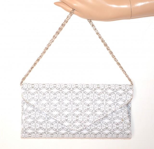 informazioni per 3eb43 c6d2e POCHETTE BIANCA ARGENTO borsello donna brillantini pizzo ricamata borsa da  cerimonia elegante bag E155