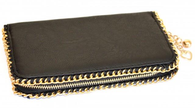 25718d7321 PORTAFOGLIO Mini Pochette BORSELLO donna NERO pelle Clutch Borsellino oro  920A