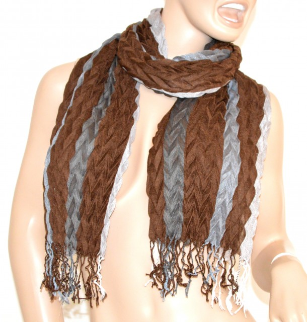 più recente c5c7b 5f74e SCIARPA ELEGANTE scialle MARRONE GRIGIO stola con frange lana scarf écharpe  schal шарф 50