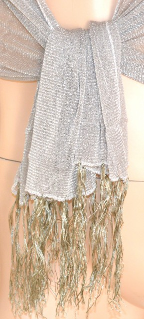 ... STOLA donna COPRISPALLE foulard DA CERIMONIA elegante trasparente brillantinata  shimmer tinta unita argento da sera 200B ... 5b53a241354f