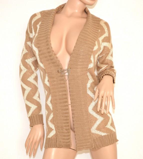 design innovativo 5f2b6 c25ea Cardigan maglione aperto BEIGE donna lana maniche lunghe maglia fantasia  maglioncino luminoso 140