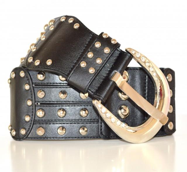 0a3f9a105c6 CINTURONE cintura donna pelle nera fibbia metallo strass brillantini  borchie chiodini 45