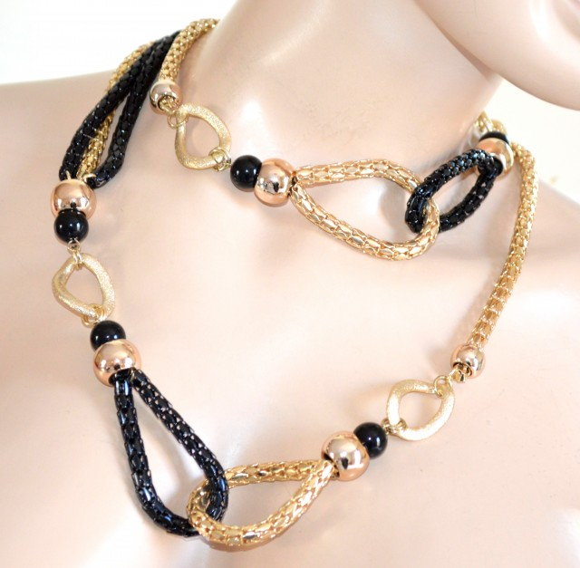 Preferenza COLLANA LUNGA oro nera dorata donna anelli satinati collier  DN87