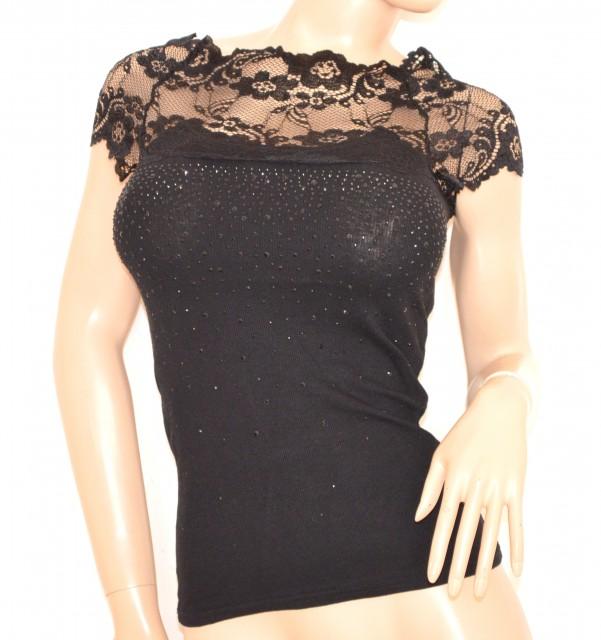 Imagens maglietta donna nera sottogiacca strass elegante pizzo maglia  cotone cerimonia party jpg 601x640 Sottogiacca pizzo 5b026299873b