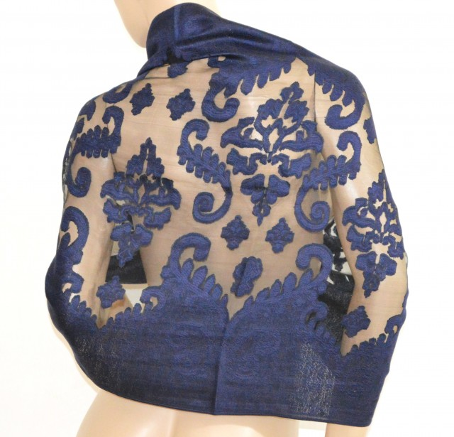 sneakers for cheap 81d0c 058c8 MAXI STOLA donna BLU elegante velato NERO foulard cerimonia ...