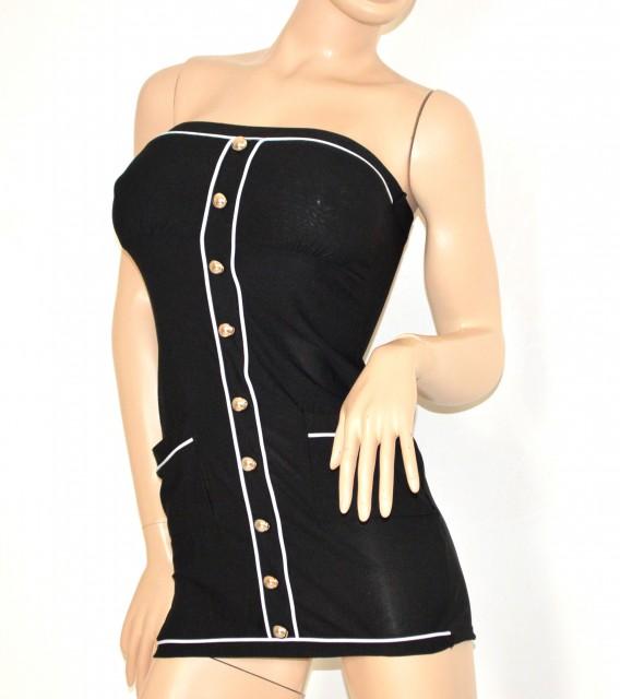 super popular 87c7f 51413 MINI ABITO donna VESTITO elegante NERO sexy Tubino MAXI TOP FASCIA corto  aderente dress 115