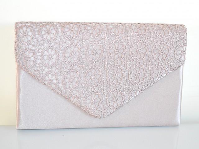 in vendita 5f8c8 21f40 POCHETTE donna RASO BEIGE borsa ricamata borsello elegante da cerimonia  party bag H8