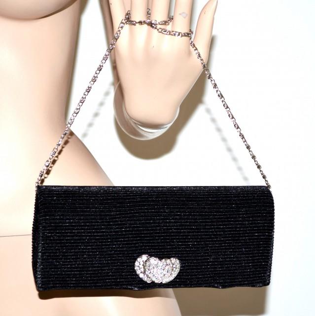 f337bf220b Pochette nera da cerimonia strass donna cuori brillantini borsa elegante  borsetta clutch bag da sera 124
