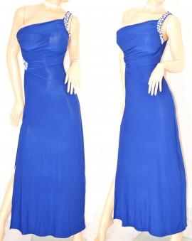 ABITO LUNGO BLU vestito donna CRISTALLI sexy elegante da sera MONOSPALLA  cerimonia festa 60X 2352b2d40a4