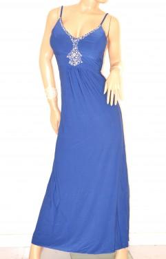 size 40 7a88f 17d59 ABITO LUNGO donna BLU vestito cerimonia strass da sera elegante damigella  E135