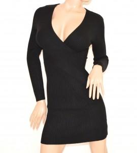 66ac4a0988ca ABITO NERO donna vestito lana maxi pull maglione maniche lunghe sexy scollo  V dress R6