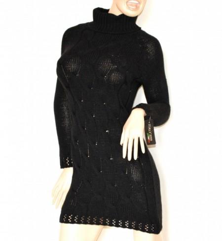 b49ddf2996 ABITO nero vestito a maglia lana donna manica lunga collo alto maglione  made Italy G70