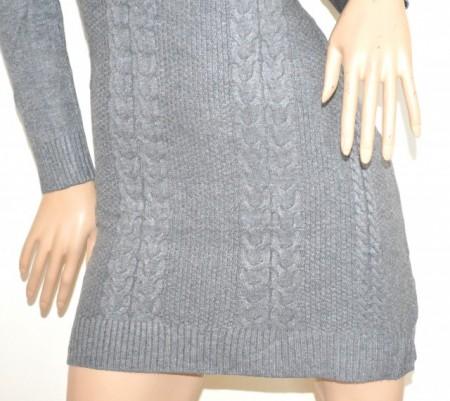 ABITO vestito a maglia GRIGIO donna maglione maxipull collo alto manica lunga robe G76