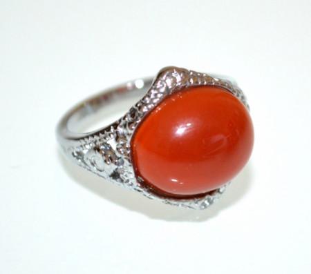 ANELLO ARGENTO donna Pietra Dura Corniola Rosso Corallo etnico bronzo anillo bague ring P43
