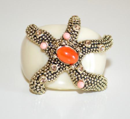 ANELLO BEIGE ORO donna fascia stella marina pietre rosa rosso corallo strass N40