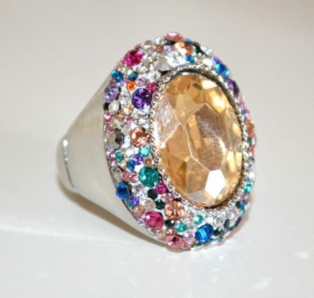 ANELLO donna argento cristallo ambra strass a molla elastico cerimonia BB16