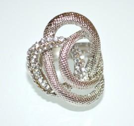 ANELLO donna argento elastico strass cristalli a molla elegante idea regalo cerimonia A21