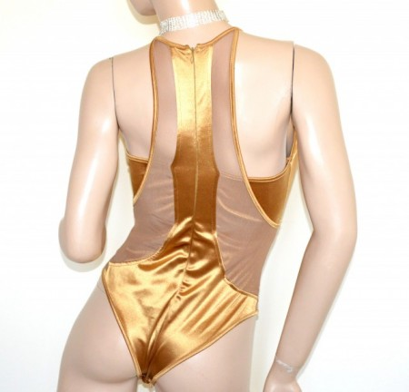 BODY ORO BRONZO donna top maglietta sottogiacca maglia giromanica velato B28