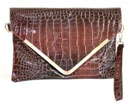 BORSELLO donna borsa MARRONE pelle lucida vernice cocco clutch bag сумка sac bolsa 1160