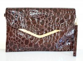 BORSELLO donna borsa MARRONE stampa cocco pochette pelle lucida vernice pvc tracolla a mano spalla Z3
