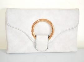 BORSELLO GRIGIO ORO donna borsa pochette eco pelle borsetta elegante bag sac E200