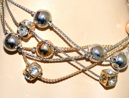 BRACCIALE argento oro dorato donna multi fili ciondoli sfere cristalli strass GP3