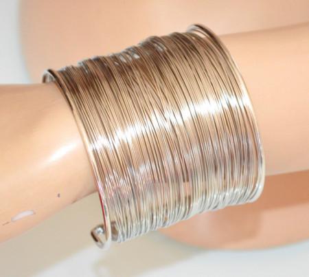 BRACCIALE ARGENTO rigido donna a schiava multi fili polsiera sexy bracelet N67