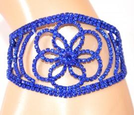 BRACCIALE BLU donna strass cristalli fiore brillantini elegante cerimonia E120
