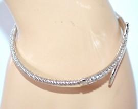 BRACCIALE donna ARGENTO rigido elastico diamantato ragazza strass brillantini F145