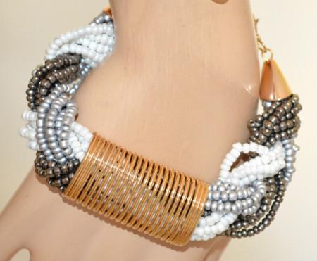BRACCIALE donna BIANCO ARGENTO GRIGIO oro dorato perle perline intrecciate multicolor V1
