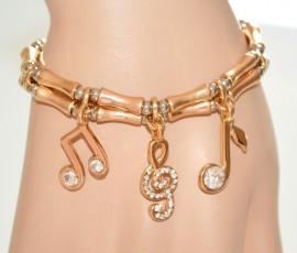 BRACCIALE donna cristalli CIONDOLI ORO ARGENTO elastico a molla bracelet 655