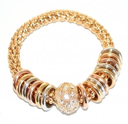 BRACCIALE donna elastico oro dorato anelli rosa argento ciondoli strass BB7