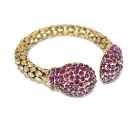 BRACCIALE donna rigido oro bronzo strass viola a schiava dorato bracelet A12