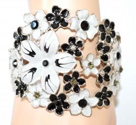 BRACCIALE GRIGIO NERO donna rigido argento floreale strass bracelet pulsera браслет NVF