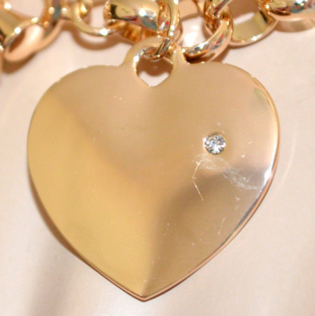 BRACCIALE ORO donna ciondolo charms cuore strass catena anelli metallo dorato pulsera N47