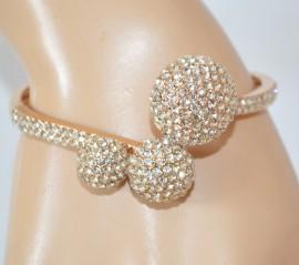 BRACCIALE ORO donna elegante rigido strass brillantini cristalli strass pulsera Z25