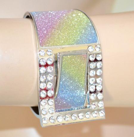 BRACCIALE RIGIDO donna argento brillantini blu rosa giallo strass cinturino glitter multicolore V6