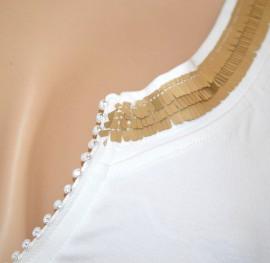 CANOTTA BIANCA ORO donna maglietta top sottogiacca giromanica cotone strass A34