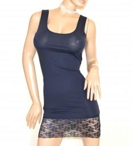 CANOTTA LUNGA BLU top donna sottogiacca pizzo ricamato mini abito cotone A40
