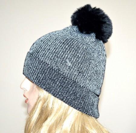 CAPPELLO nero argento donna berretto lurex copricapo pon pon invernale hat G14