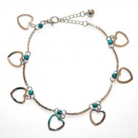 CAVIGLIERA donna cristalli azzurri turchesi argento ciondoli cuore anklet 5A