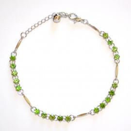 CAVIGLIERA donna strass argento cristalli verde sexy gioiello mare estivo brillantini elegante 10G