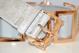 CINTURA donna DA CERIMONIA stringivita elastica pelle argento ELEGANTE metallo oro belt 70C