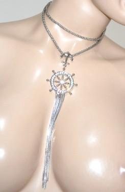COLLANA argento lunga donna girocollo ciondolo timone strass fili lunghi G35