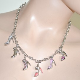 COLLANA donna argento GIROCOLLO ciondoli scarpe sandali strass cristalli  elegante gioiello cerimonia catena anelli 143A f41b9c73616
