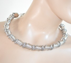 COLLANA donna girocollo ARGENTO elegante sexy collarino rigido collier neckalace E1