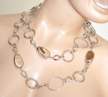 COLLANA LUNGA CINTURA donna ARGENTO gioiello 2 in 1 metallo anelli pietre lucide elegante N52