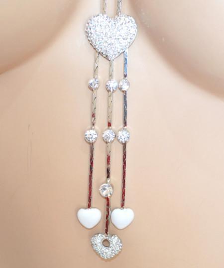 COLLANA LUNGA donna ARGENTO BIANCA ciondoli cuori strass acciaio collier idea regalo F265